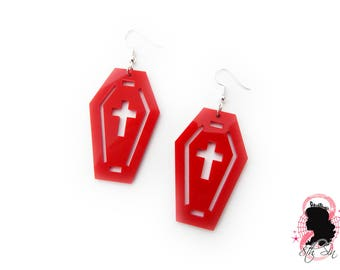 Red Acrylic Coffin and Cross Earrings, Glossy Red Acrylic Cross Earrings, Red Acrylic Coffin Earrings, Red Coffin Earrings, Red Plastic