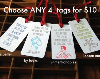 Your Choice Any 4 Bottle Tags- Letterpress printed Wine Tag, Gift Tag