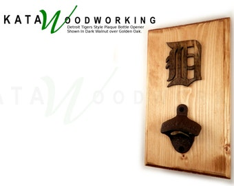 Detroit Tigers Style Plaque Wall-Mount Bottle Opener - Handmade
