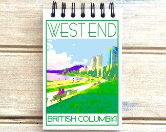 West End English Bay Vancouver B.C. - Love This Place - Cityscape Notebook - Vancouver Canada - Notepad Custom Gift - The Jitterbug Shop