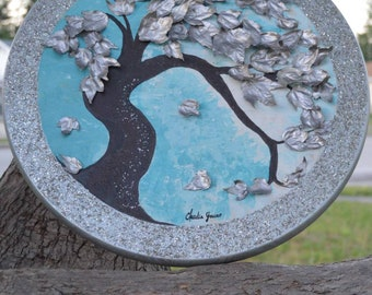 Life shines-Real Wood Acrilyc mixed painting