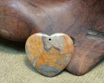 Sale #EarthDay ~ Beautiful Earth Shades in Brown Bamboo Leaf Jasper Heart