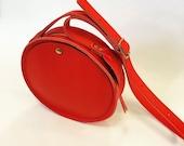 Red leather circle bag, la lisette bag, crossbody