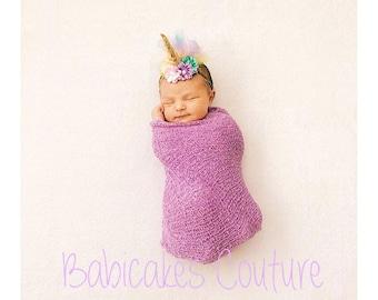 Unicorn Swaddle & Headband, Newborn Photo Outfit, Unicorn Swaddle Outfit, Unicorn Photo Outfit, Unicorn Headband, Unicorn Baby Girl Outfit