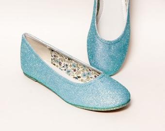 Glitter - Mediterranean Blue Ballet Flat Slipper Custom Shoes