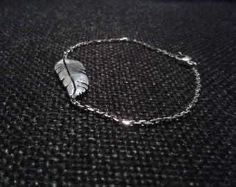 Feather bracelet Indian silver on fine sterling silver chain