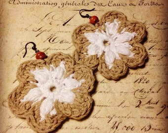 Crocheted Earring - White Summer