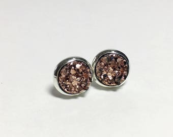 8 mm druzy earrings with silver settings