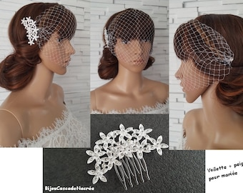 Bridal Veil + hair comb - Bridal Veil - white - Bandeau veil - Bridal headpiece veil - wedding birdcage - removable Wedding Veil-