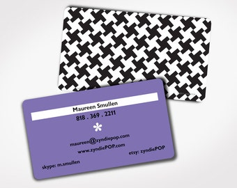 250+ PRINTED Business Cards - HOUNDSTOOTH Card - Choice of COLOR - Retired - College Student