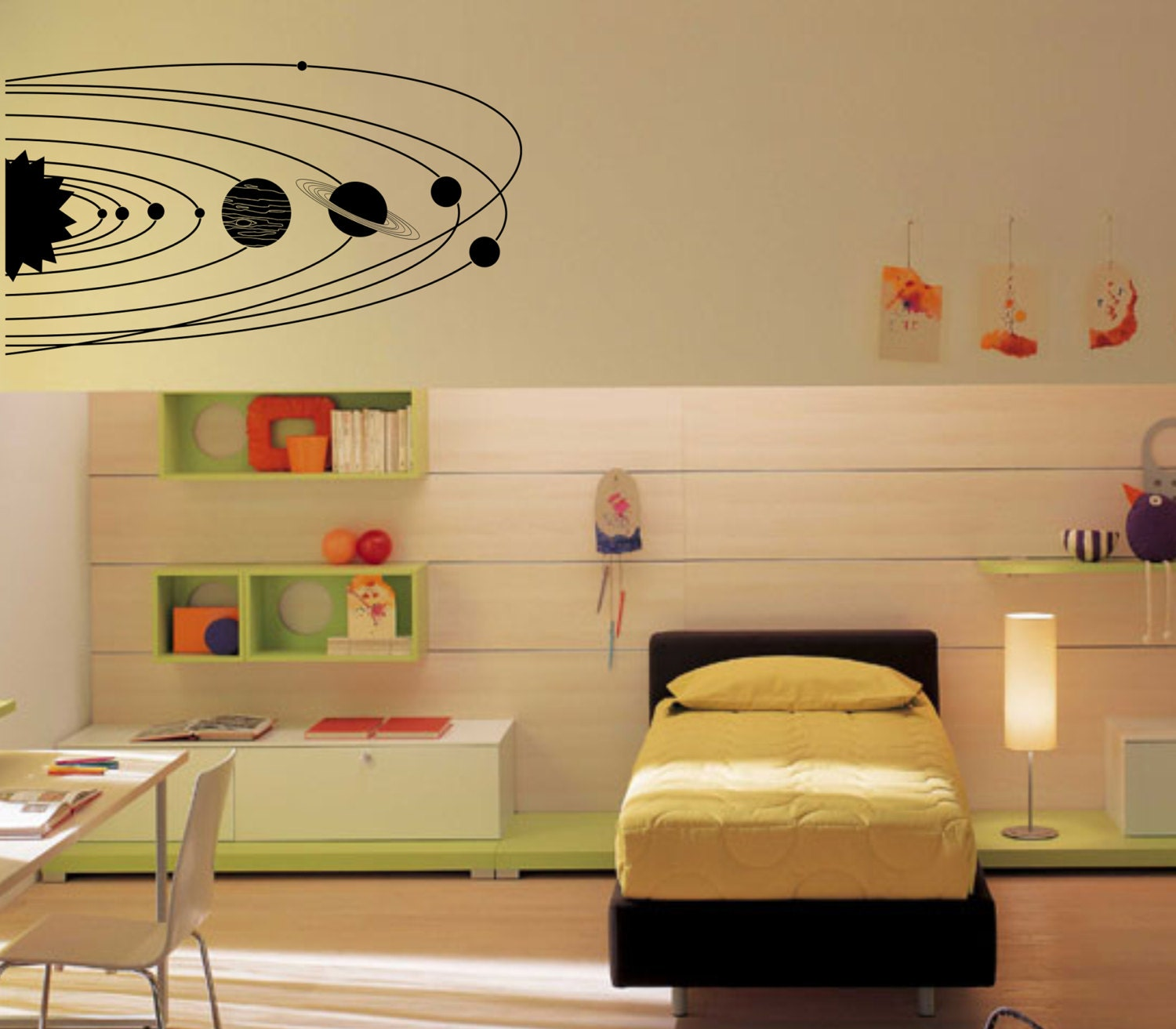 Large Solar System with planets and orbits wall decal vinyl