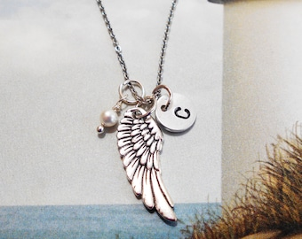ANGEL WING NECKLACE in silver tone - with a Swarovski pearl or birthstone crystal  - personalized with initial charm - choice of chains