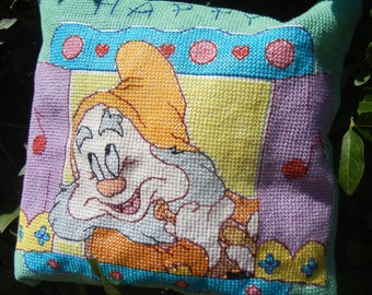 Happy the Dwarf from Snow White - Handmade Finished Cross Stitch Pillow, 29x28cm, 110x110 stitches