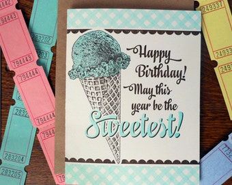letterpress happy birthday! may this year be the sweetest! greeting card ice cream cone vintage soda shop
