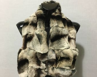 Real Natural Gray-brown-black color Rex Chinchilla Fur Collar
