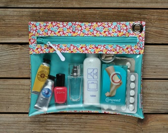Clear vinyl travel pouch - Flowers 4