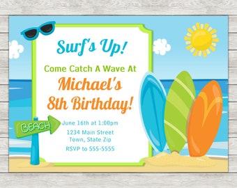 Surf Board Birthday Invitation, Surfer Boy Birthday Invitation - Digital File (Printing Services Available)