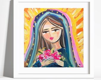 Mary Print on Paper or Canvas Mary with Flowers