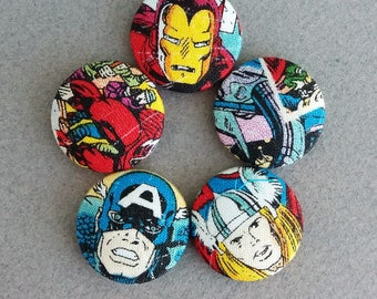 super hero print fabric covered buttons - made in the USA  - 5 pcs