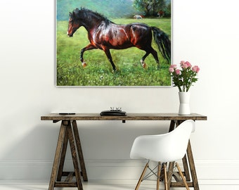 Brown Horse ,original oil painting, 23.6 x 28.7 inch (original painting) Free shipping