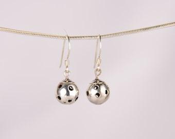 Sterling Silver Drop Pickleball Earrings (Pbe26)