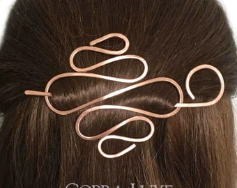 Copper Hair Barrette Expandable Bun Holder Rose Gold Hair Stick Copper Hair Clip Hair Slide Long Fine Hair Accessory, Gift Women