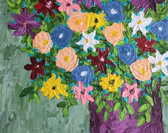 Flower Painting on Canvas Original Acrylic Painting Floral Painting