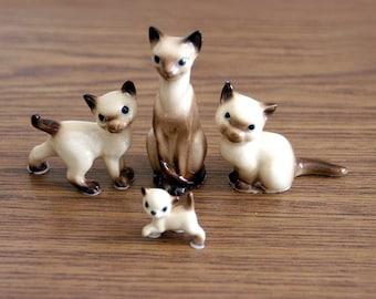 Miniature Siamese Cat Figurines, Hagen-Renaker Set of 4 Ceramic Statues,  Vintage 1960s Knickknacks, Feline Collectible Cats, Home Decor