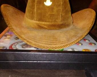 Mens Resistol corduroy brown cowboy hat