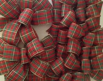Christmas Plaid Decorative Bows / Whole Set Plaid Bows / Christmas Tree Topper / Wreath Bow / Xmas Tree Bows / set of 10 / Custom  Bows