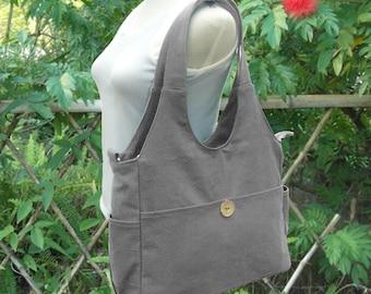 Gray canvas tote bag messenger bag men cross body bag shoulder bag satchel adult diaper travel bag hobo bag vegan bag, Christmas gift