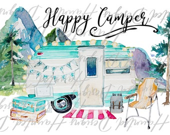 Wanderlust Mountain Happy Camper PNG, Graphic, Clip Art
