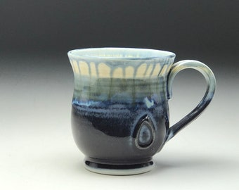 Wheel thrown mug, Ceramic tea cup, purple blue glaze, hand thrown mug, large coffee cup, porcelain coffee mug, 16oz, Gabriel Kline Pottery