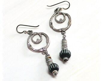 Bohemian Tribal Hoop Earrings, Black White Dangle Earrings for Women, Small Tribal Earrings for Girlfriend, African beaded dangle earrings,
