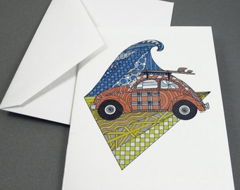 Surf's Up Stationery Set - Set of 8 Blank Inside Card Set - VW Bug Surfboard Wave notecards