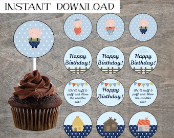 Three Little Pigs Cupcake Toppers | Birthday Farm Storybook 3 Big Bad Wolf Printable Party Table Cake Decor