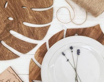 Wooden Rustic Place Mat Handmade Nature Decor for Wedding Table Decoration Mats Monstera Leaf Placemats Kitchen Decor Wood Botanic Placemat