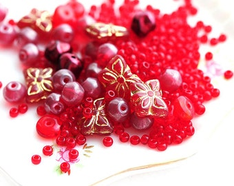 Red beads mix Bead soup czech glass, red seed beads, butterfly beads, round spacers - 15gramm - 2349