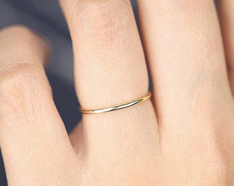 Thin Gold Ring, Thin Wedding Ring, Gold Ring, Gold Band Ring, Dainty Ring, 1mmBand Ring, Thin Wedding Band, Gold Stacking Ring, Simple Band