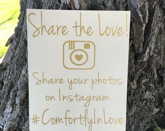 Share the Love Sign, Share the Love Wedding Sign, Share the Love Hashtag Sign, Share your Photos Wood Sign, Wedding Hashtag Decorations