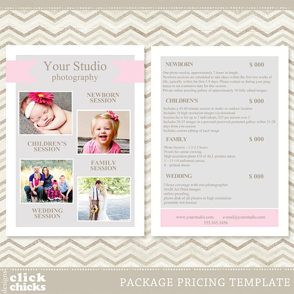 Photography Package Pricing List Template Price List Price