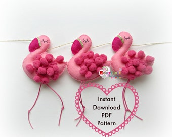 Flamingo Ornament Sewing Pattern PDF Tutorial Instant Download Instructions