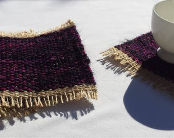 Mug Rugs, upcycled handwoven coasters, magenta, purple, plum, black and beige drink coaster gift set