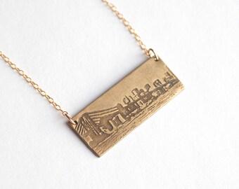 New York - New York City - Etching - Brooklyn Bridge - Manhattan - NYC Skyline - New York Necklace - New York Gift - New York Pendant - NYC