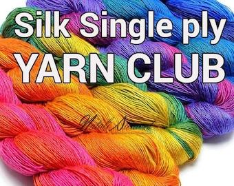 Sock Yarn Single ply Silk Yarn - Gradient Yarn Club - Knitting / Crochet