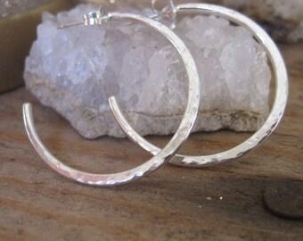 Hammered Hoop Earrings, Hoop Post Earrings, Silver Hoops, Everyday Hoops, Boho Hoops