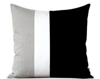 Color Block Pillow (20x20) Black, Cream and Natural Linen by JillianReneDecor Minimal Home Decor Colorblock Striped Trio - Black and White