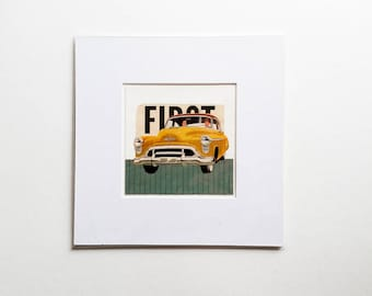 Original collage, vintage car collage, vintage paper collage