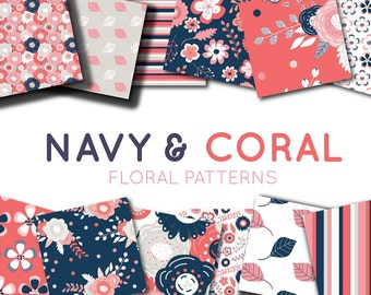 Coral and Navy Seamless Digital Paper Pack, Commercial Use, Scrapbook Pages, 12x12, JPEG, Premade, Hand Drawn, Instant Download, Clip Art