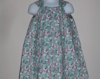 Floral Girls Dress, Toddler Girls Dress, Green Floral Dress, Reversible Pleated Dress, Size 3 Years,  2 in 1 dress, Party dress